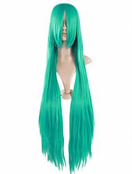 venta caliente 100cm de color verde largo, animado femenino pelucas cosplay del pelo recto