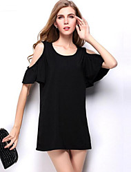 Women's Solid Round Neck Short Sleeve Sexy Loose Off-The-Shoulder Plus Size Dress