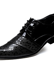 Men's Shoes Fashion Casual Business Lattice Leather Shoes Black