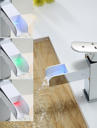 High Quality Environment Protecting Hydroelectric Power LED RGB Brass Chrome Plated Basin Faucet - White+Silver