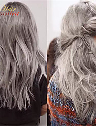 Two Tone Hair #1B Ombre Grey Hair Human Hair Lace Front Wig Heat Resistant Grey Human Hair Wig For African Americans
