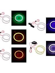 2pcs 80mm / 90mm 4W 400lm yeux blanc / bleu / rouge / vert / rose clair ange de lumière (DC12V)