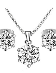 HKTC Concise White Gold Plated with 6 Prongs Cubic Zirconia Stone Necklace and Earrings Jewelry Set