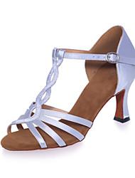 Non Customizable Women's Dance Shoes Sparkling Glitter Sparkling Glitter Latin Sandals Flared HeelPractice / Professional / Indoor /