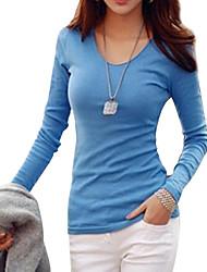 Damen Solide Einfach / Street Schick Lässig/Alltäglich / Übergröße T-shirt,V-Ausschnitt Langarm Blau / Weiß / Schwarz Baumwolle Mittel