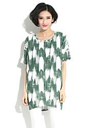 Women's Print Multi-color Blouse , Round Neck Short Sleeve