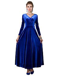 De las mujeres Corte Swing Vestido Tallas Grandes / Fiesta Un Color Maxi Escote Cruzado Poliéster