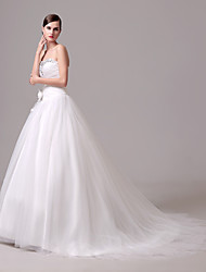 A-line Wedding Dress Court Train Sweetheart Crepe with Embroidered / Flower / Lace / Ruffle / Beading / Button