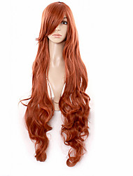 Hot Red Brown Wig Anime Wig Curly Hair Inclined Bang Synthetic Wigs