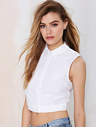 Women's Solid White Blouse , Shirt Collar Sleeveless