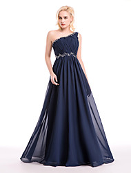 Cocktail Party / Formal Evening Dress - Dark Navy Ball Gown One Shoulder Floor-length Chiffon