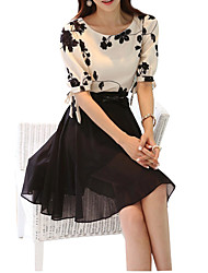 Women's Vintage Embroidered Two-Piece Slim Swing Dress(Random Color)