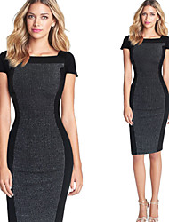 Women's Fashion Stitching Contrast Color Square Neck Party Work Bodycon Short Sleeve Dress