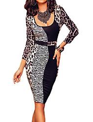 Women Dress Animal Leopard Print Three Quarter Sleeve Slim Evening Dress