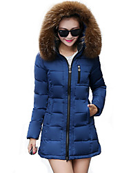Women's Long Sleeve Winter Parka Coat , Casual Cotton Mid Long Fur Hooded Donw Jacket (More Colors)