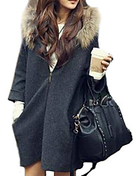Women's Solid Brown / Gray Vintage Long Sleeve Polyester Coat