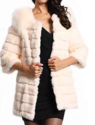vrouwen elegante faux fur warme ¾ mouwen jas
