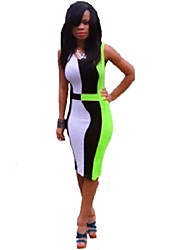 Women's Color Block Slim Bodycon Casual Sexy Fashion Party Round Neck Sleeveless Dress More Colors Can Available