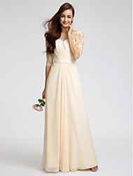 Floor-length Chiffon Bridesmaid Dress Sheath / Column Scoop with Lace