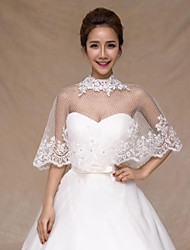 Wedding  Wraps Collars Sleeveless Tulle Ivory Wedding Appliques / Crystal / Lace