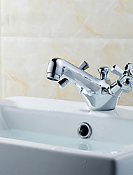 Deck Mounted Dual Handle One Hole Basin Faucet Solid Brass Chrome Finish Basin Sink Mixer Tap K1076