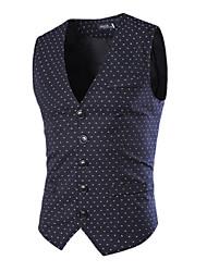 Ronald Men's Straps Suits & Blazers , Cotton Blend Sleeveless Casual Button Winter