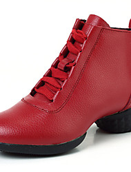 Women's Dance Shoes Boots Breathable Leather Low Heel Black/Red