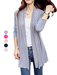 Women's Solid Blue / Pink / Red / Beige / Gray Cardigan , Casual / Day / Simple / Holiday / Beach Long Sleeve