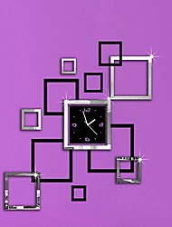 Fashion Wall Poster Creative DIY Acrylic Mirror Wall Decorative Wall of Sitting Room Color Matching Square Wall Clock