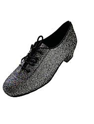 Non Customizable Women's Dance Shoes Dance Sneakers Fabric / Sparkling Glitter Cuban Heel Black