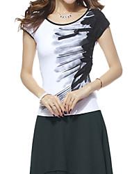 Damen Druck Einfach Lässig/Alltäglich T-shirt,Rundhalsausschnitt Sommer Kurzarm Rot / Weiß Baumwolle Mittel