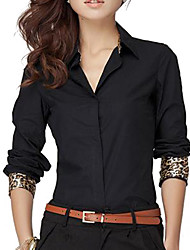 Women's Solid White/Black Shirt, Work V Neck Long Sleeve Leopard Cuff