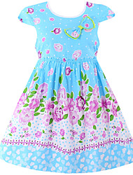 Girls Fashion Girls Summer Dress Blue Flower Print 100% Cotton Party Pageant Baby Kids Clothes Dresses (100% Cotton)
