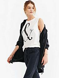 Women's Print White Blouse , Round Neck Sleeveless