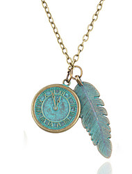 Designer Jewelry Clock Feather Pendant Necklace Elegant