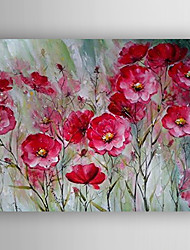 Oil Painting Red Flowers Hand Painted Canvas with Stretched Framed
