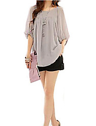 Women's Solid Pink/Purple/Gray Blouse,Casual Round Neck 3/4 Sleeve