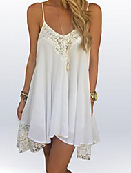 Women's Patchwork White Dress , Casual Strap Sleeveless