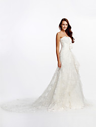 A-line Wedding Dress Cathedral Train Strapless Lace with Flower / Lace