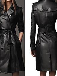 Damen Trench Coat - Retro / Leger Langarm Leder