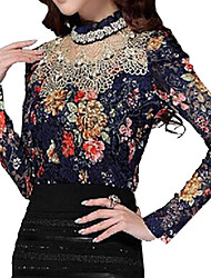 Women's Stand Lace/Mesh T-shirt , Chiffon Long Sleeve