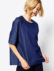 Women's New Vogue Solid Blue Demin Loose Top , Casual / Day