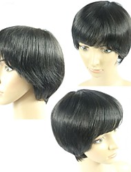 100% Real Human Hair Cheap Brazilian Glueless Wigs 1B Straight Short Wigs Hair None Lace Bob Wigs For Black Women