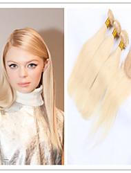 4pcs / lot vierges faisceaux de tissage de cheveux humains non transformés # 613 blondes extensions de cheveux droites avec fermeture à