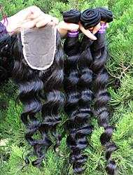 grand stock péruvien cheveux vierges avec fermeture 10-30 péruvien lâche vague cheveux de trame avec des fermetures