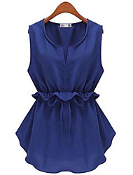 Women's Solid Blue / White / Black Blouse , Round Neck Sleeveless