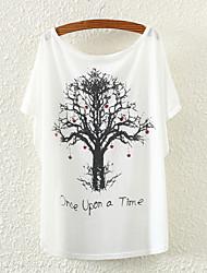 Ronde hals - Polyester - Bloem - Vrouwen - T-shirt - Korte mouw