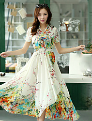 Women's Print Multi-color Dresses , Casual / Print V-Neck Short Sleeve