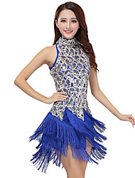 Latin Dance Dresses Women's Performance Polyester / Sequined Tassel(s) 1 Piece Black / Purple / Red / Royal Blue / White