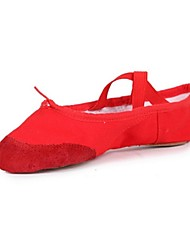 Non Customizable Women's Dance Shoes Ballet Suede / Canvas Flat Heel Black / Pink / Red / White